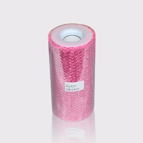 Pink metallic tulle roll